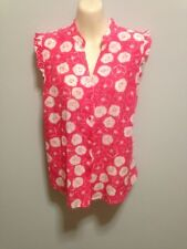 Sportscraft Pink White Lotus Print Cotton Silk Blouse Shirt Top Size 12 EUC