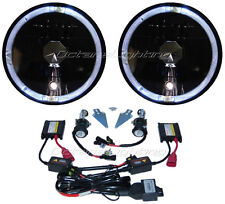 "7"" Black Headlight White Halo Angel Eye H4 6000K 6K HID Light Bulb Headlamp Pair"