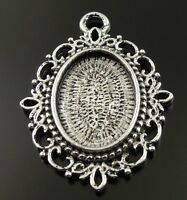 14X Vintage Style Silver Tone Flower Cameo Settings(18*13mm) Charms 31*27*3mm