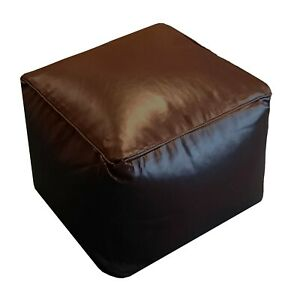 FILLED BEAN CUBE FOOTSTOOL / POUFFE / BEANBAG Faux Leather Kids Seating footrest
