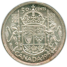 50 Cents Canada 1953 Large Date, Shoulder Fold, Graded MS65 Cameo by ICCS