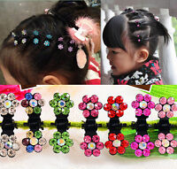 12pc Wholesale Girls Sweet Crystal Rhinestone Flower Mini Hair Claws Clips Clamp