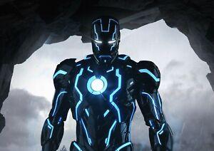 Iron Man Neon Suit Super Hero Poster Print A6 A5 A4 A3 A2 A1 A0