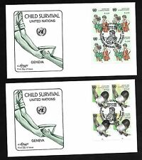 Un Geneva #138-139 Child Survival Set of 2 Artmaster B4Fdcs