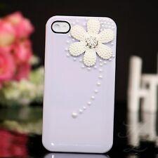 Apple iPhone 4 4S Hard Handy Case Cover Schutz Hülle Etui Perlen Steine Lila