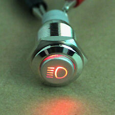 Red 16mm Driving Lights Push Button On/Off Switch Light LED's Head Lights