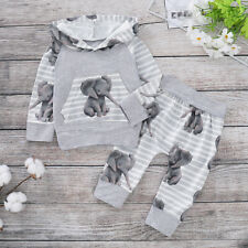 Newborn Baby Boy Girl Tracksuit Elephant Hooded Tops Pants Clothes Outfits Set