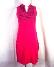 vtg 60s 70s Fabindia Hot Pink Ethnic Embroidered Dress Cotton Festival Boho XS