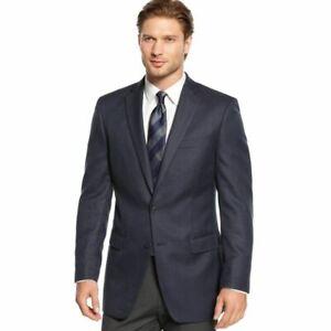 New $350 CALVIN KLEIN Silk-Wool Blend Sport Coat Herringbone Suit Jacket Blazer