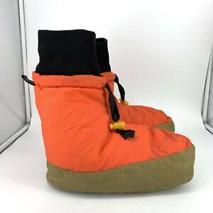 Eddie Bauer Men Large 9 10 11 Slippers Vintage Goose Down Camp Orange Puffer