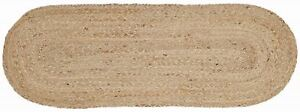 """13' x 36"""" Natural Braided Table Runner Unbleached Jute Tan Oval Rustic Primitive"""