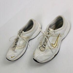 Nike Womens Cheer Shoes Sz 8 White Gold FCS Model 318682-111 CLEAN Cheerleading