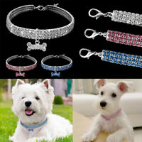 Bling Dog Necklace Collar Diamante & Pendant For Pet Puppy Rhinestone Accessory