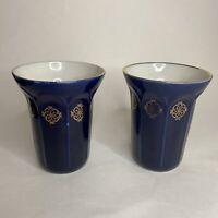 Pair Of Vintage Cobalt Blue Porcelain Vases Gold Trim Decorations Russia
