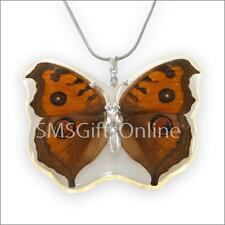 Clear Acrylic Brown Butterfly Pendant 20' + 2' adjustable Silver Tone Necklace