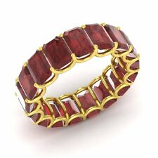 Certified 12.72 Ctw Emerald Cut Garnet 10k Yellow Gold Full Eternity Band Ring
