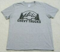 Gildan Chevy Trucks Gray Crewneck Tee T-Shirt Top Short Sleeve XL Extra Large