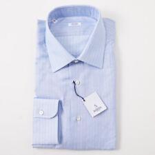 NWT $350 BARBA NAPOLI Sky Blue Stripe Woven Cotton Dress Shirt 17 x 37