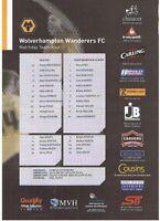 Teamsheet - Wolverhampton Wanderers v West Bromwich Albion 2007/8