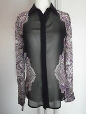 Stunning GUESS by MARCIANO Navy & Purple Sheer Button Down Blouse Size XS
