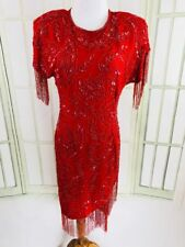 Laurence Kazar Sparkle Sequins Evening Dinner Party Red Trophy Dress Size Small