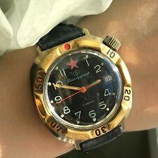 Vintage Watch VOSTOK Classic Komandirskie Date Golden Bezel USSR Army Original