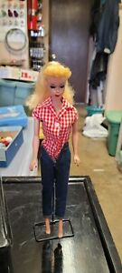 Gorgeous Vintage Blonde Ponytail Barbie in case with stand, and clothes