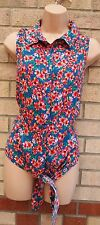 G21 BLUE PINK GREEN FLORAL BUTTONED T SHIRT LACE UP BLOUSE TUNIC TOP VEST 18