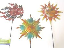 "Garden Collection 3 Iron Colorful Sun Face Zen Garden Stakes 24"" x 7"" New!"
