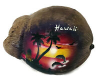 VINTAGE AIRMAIL PAINTED COCONUT SOUVENIR HAWAII PALM TREES DOLPHIN SUNSET BIRDS