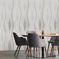 Modern Wallpaper rolls white tan cream brown Textured wave stripes wavy lines 3D