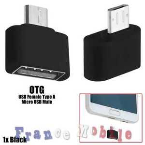 Mini Adaptateur Micro USB Male vers a USB 2.0 Femelle OTG On The Go Noir