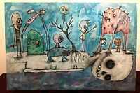 GUS FINK Art ORIGINAL Outsider Painting Wood Abstract Surrealism TIME & SPACE