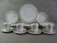 20 Pcs Tivoli China Dinnerware Set, #8305 Pattern W/Blue Shells & Pink Flowers