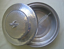 Vintage Covered Serving Dish Buenilum Aluminum With Pyrex Divided Insert Retro