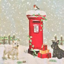 paper napkins decoupage x 2 Christmas Postbox & dogs 33cm