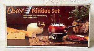 NEW Old Stock Vintage Oster Electric Fondue Set w/4 Forks & Holder 681-36 Almond