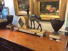 Art Deco Bronze And Marble Clock Garniture Set