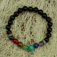 7 Chakra Stone Bracelet With Black Tourmaline Beads