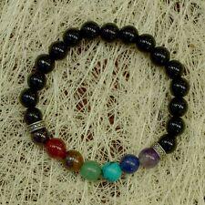 7 Chakra Stone Bracelet With Black Tourmaline Beads