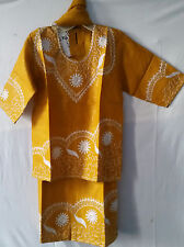 "African Clothing Kids Girls Skirt Suit Mustard Silver size 05/06  30"" around"