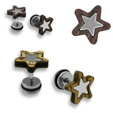 2 Pcs Chic Fake Plugs with Wood Natural Stainless Steel Star