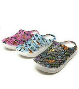 JEFFRICO Clogs for Women Nurse Shoes Garden Shoes Butterfly Black Blue Pink NEW
