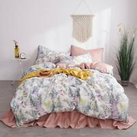 Flowers  Leaves Duvet Cover Set Luxury Egyptian Cotton Bedding Set Fitted Sheet