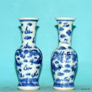 ANTIQUE CHINESE PORCELAIN BLUE WHITE DRAGON VASES GUANGXU STAMP KUANG SHU MARK