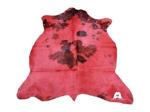 "Red & Black Dyed COWHIDE RUG – Size: 6'2""x 6'10"" Ft – Premium Cow Hide Rug"
