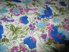 Cotton Fabric-By Rose & Hubble For David Textile-White W/Bright Flowers