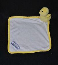 Peluche doudou canard canari poussin jaune plat MITOSYL carré blanc NEUF