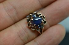 Estate  Blue Sapphire 10k Yellow Gold FLOWER Ring