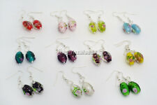 FREE wholesale 10pair Fashion Flower 3D Handmad Glass bead Silver Dangle earring